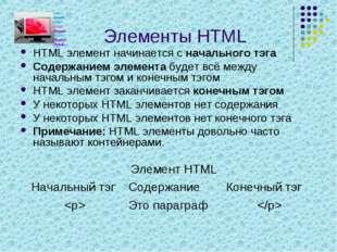 Элементы HTML HTML элемент начинается с начального тэга Содержанием элемента