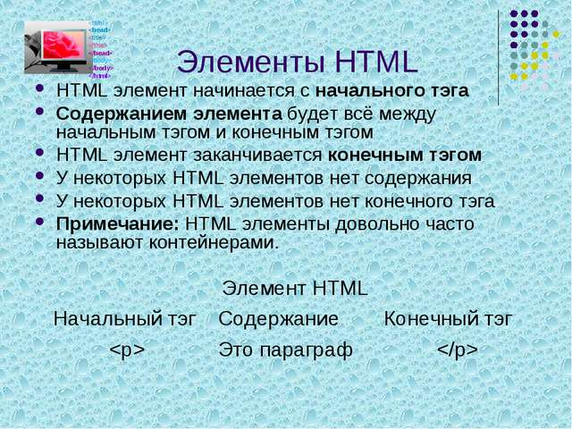 Элементы HTML HTML элемент начинается с начального тэга Содержанием элемента...