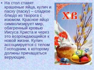 На стол ставят крашеные яйца, кулич и пасху (паску) – сладкое блюдо из творог