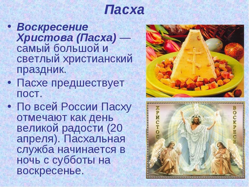 Пасха Воскресение Христова (Пасха) — самый большой и светлый христианский пра...