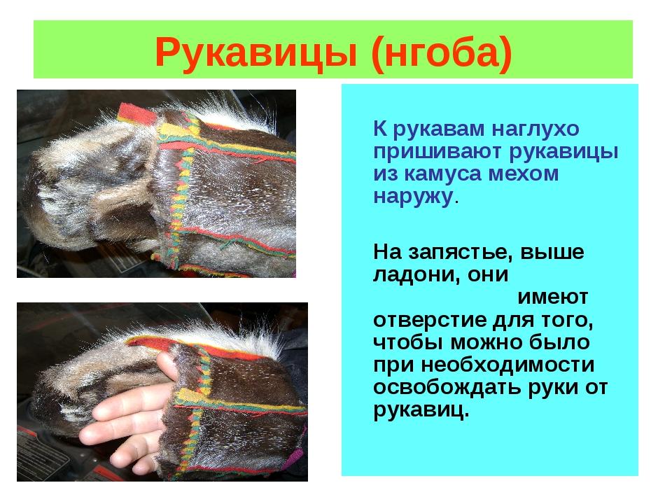 Рукавицы (нгоба) К рукавам наглухо пришивают рукавицы из камуса мехом наружу....