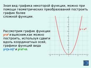 Зная вид графика некоторой функции, можно при помощи геометрических преобраз