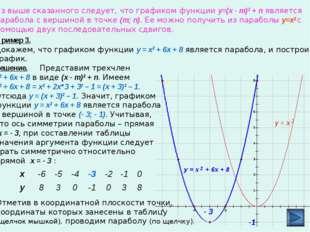 Из выше сказанного следует, что графиком функции y=(x - m)2 + п является пара