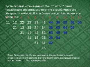 Пусть первый игрок выкинет 3-4, то есть 7 очков. Рассмотрим вероятность того,