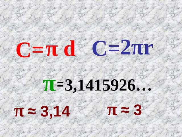 C= π d 2πr C= 3,1415926… π = π ≈ 3,14 π ≈ 3