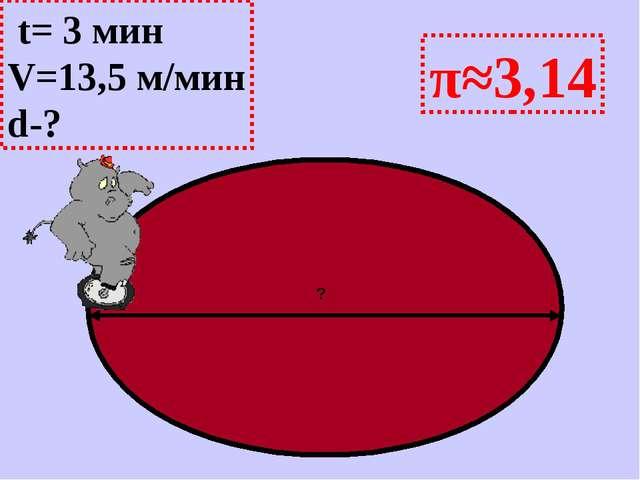 π≈3,14 ? t= 3 мин V=13,5 м/мин d-?