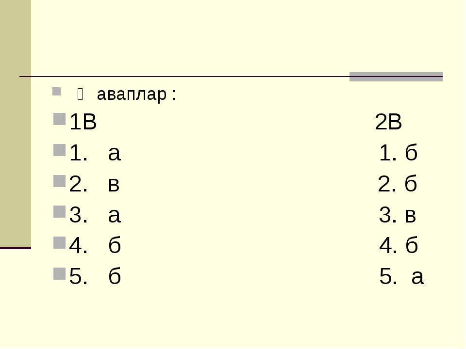 Җаваплар : 1В 2В 1. а 1. б 2. в 2. б 3. а 3. в 4. б 4. б 5. б 5. а