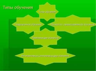 Типы обучения Развивающее обучение Интегративное (синтезирующее) обучение Тра