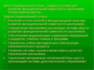Цель Национального плана - создать условия для развития функциональной грамот