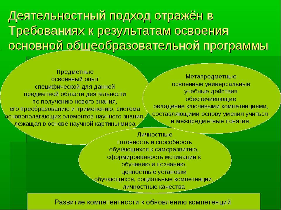 Деятельностный подход отражён в Требованиях к результатам освоения основной о...
