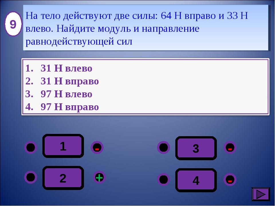 1 - - + - 2 3 4 9 На тело действуют две силы: 64 Н вправо и 33 Н влево. Найди...