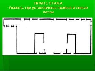 ПЛАН 1 ЭТАЖА Указать, где установлены правые и левые петли