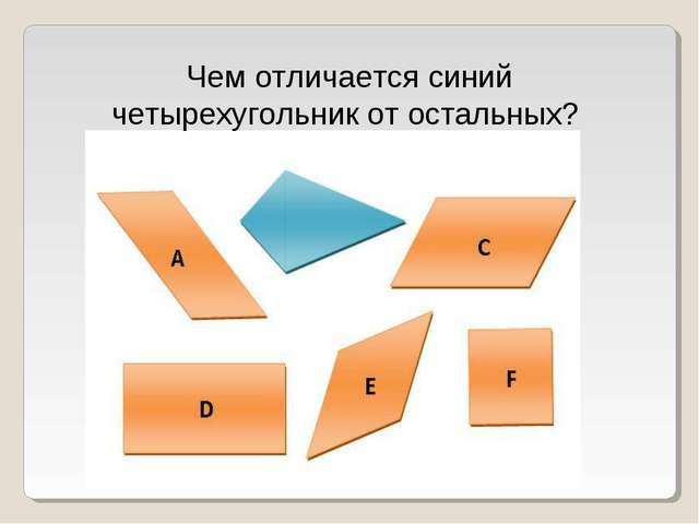 Чем отличается синий четырехугольник от остальных?