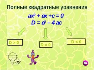 D = 0 D < 0 D > 0 ах2 + вх +с = 0 D = в2 – 4 ас