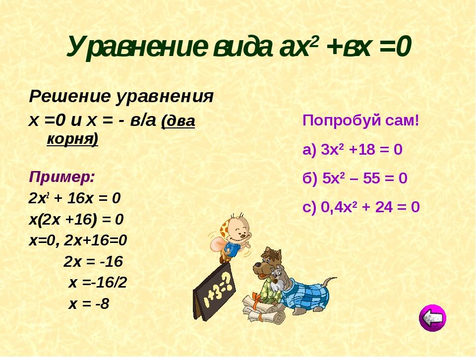 Попробуй сам! а) 3х2 +18 = 0 б) 5х2 – 55 = 0 с) 0,4х2 + 24 = 0 Уравнение вида...
