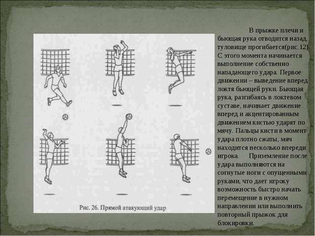 В прыжке плечи и бьющая рука отводится назад, туловище прогибается(рис.12)....
