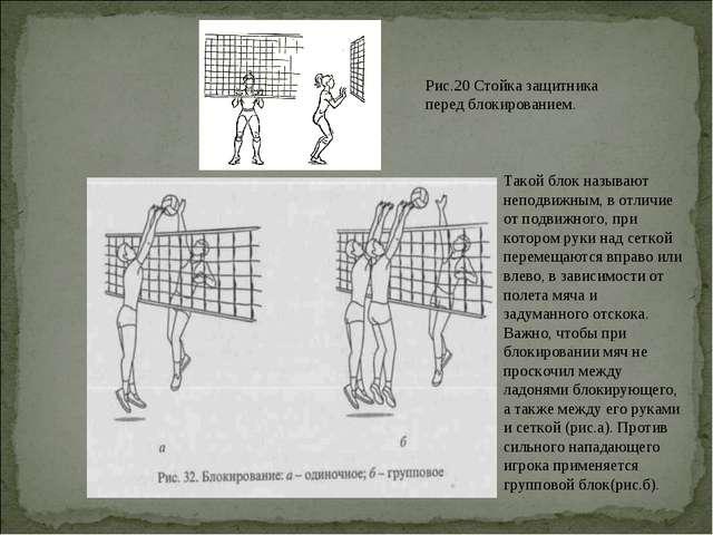Рис.20 Стойка защитника перед блокированием. Такой блок называют неподвижным,...