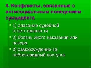 4. Конфликты, связанные с антисоциальным поведением суицидента 1) опасение су
