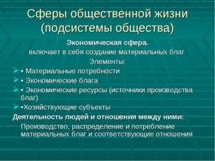 Сферы общественной жизни (подсистемы общества) Экономическая сфера. включает