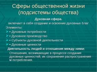 Сферы общественной жизни (подсистемы общества) Духовная сфера. включает в себ
