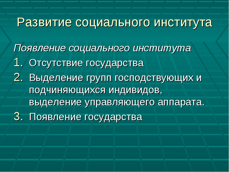 Развитие социального института Появление социального института Отсутствие гос...