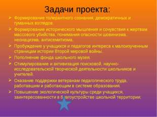 Задачи проекта: Формирование толерантного сознания, демократичных и гуманных