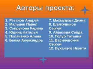 1. Резанов Андрей 2. Мальцев Павел 3. Сопрунова Карина 4. Юдина Наталья 5. По