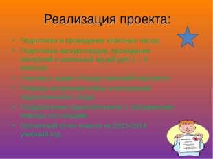 Реализация проекта: Подготовка и проведение классных часов; Подготовка экскур