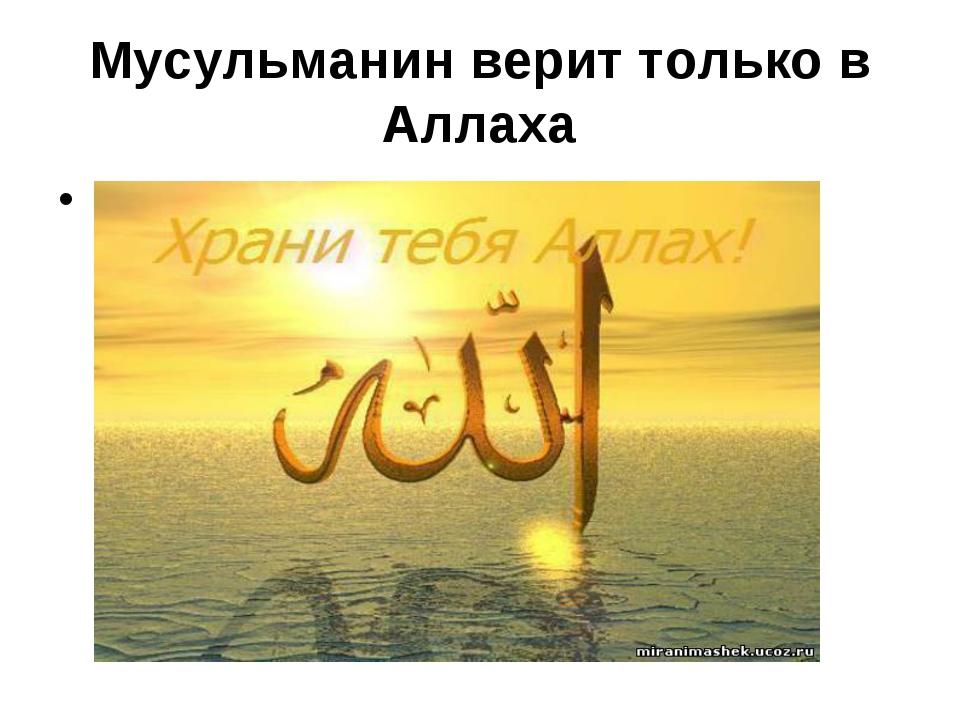 Мусульманин верит только в Аллаха .