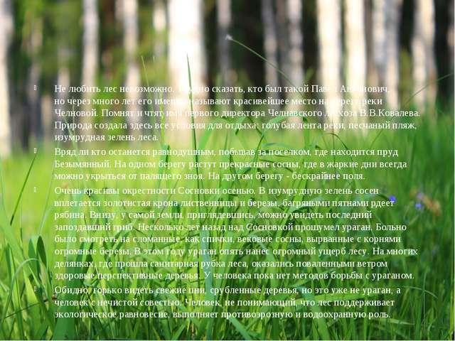 Не любить лес невозможно. Трудно сказать, кто был такой Павел Антонович, ноч...