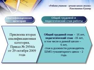Квалификационная категория Общий трудовой и педагогический стаж работы «Работ