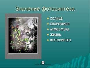 Значение фотосинтеза СОЛНЦЕ ХЛОРОФИЛЛ АТМОСФЕРА ЖИЗНЬ ФОТОСИНТЕЗ