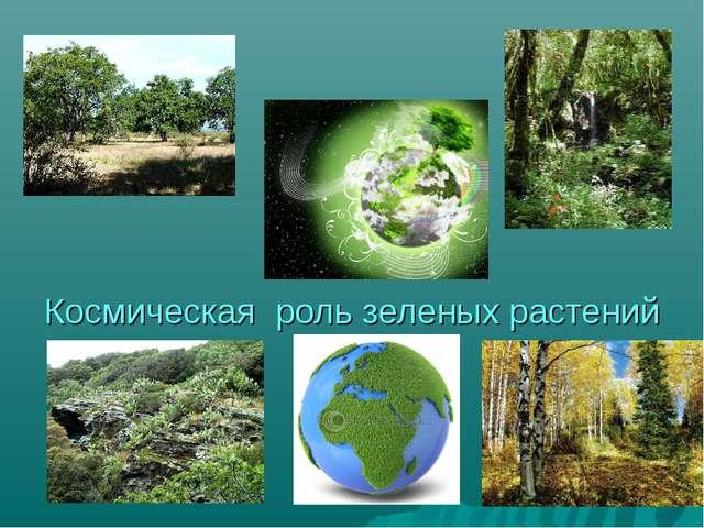 Космическая роль зеленых растений