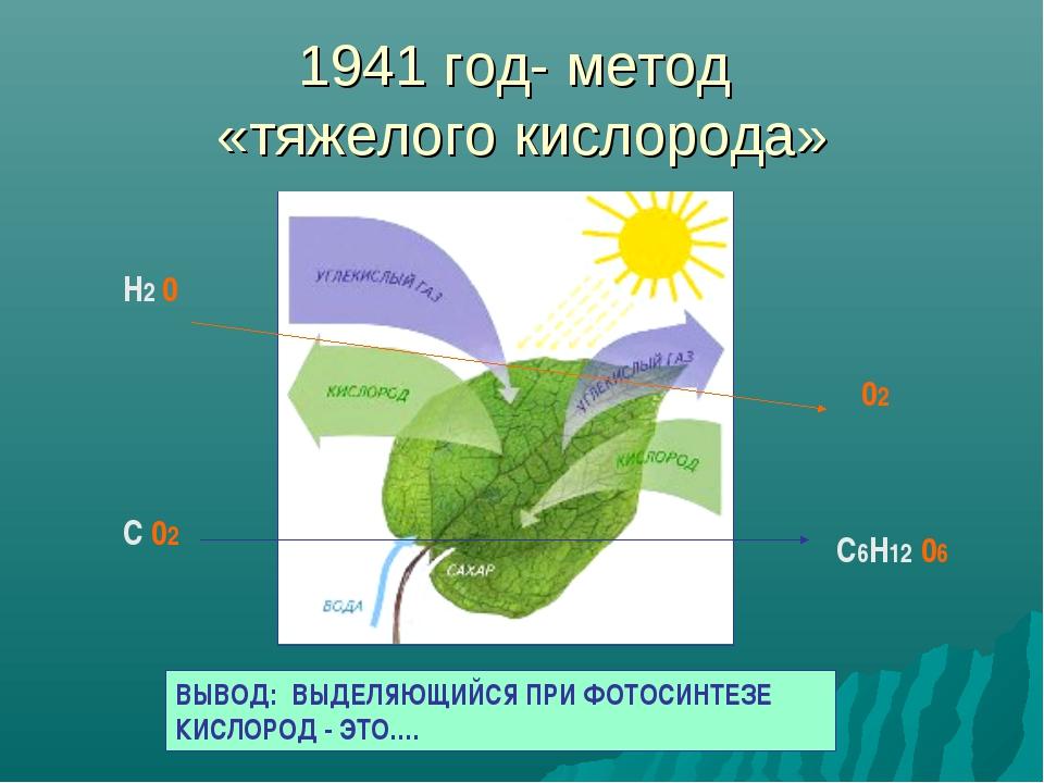 1941 год- метод «тяжелого кислорода» Н2 0 02 С 02 С6Н12 06 ВЫВОД: ВЫДЕЛЯЮЩИЙС...