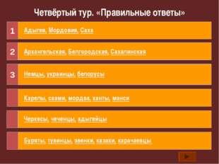 Четвёртый тур. «Правильные ответы» В состав РФ входят ниже перечисленные респ