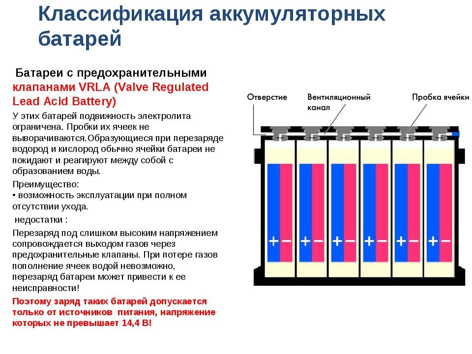Классификация аккумуляторных батарей Батареи с предохранительными клапанами V...