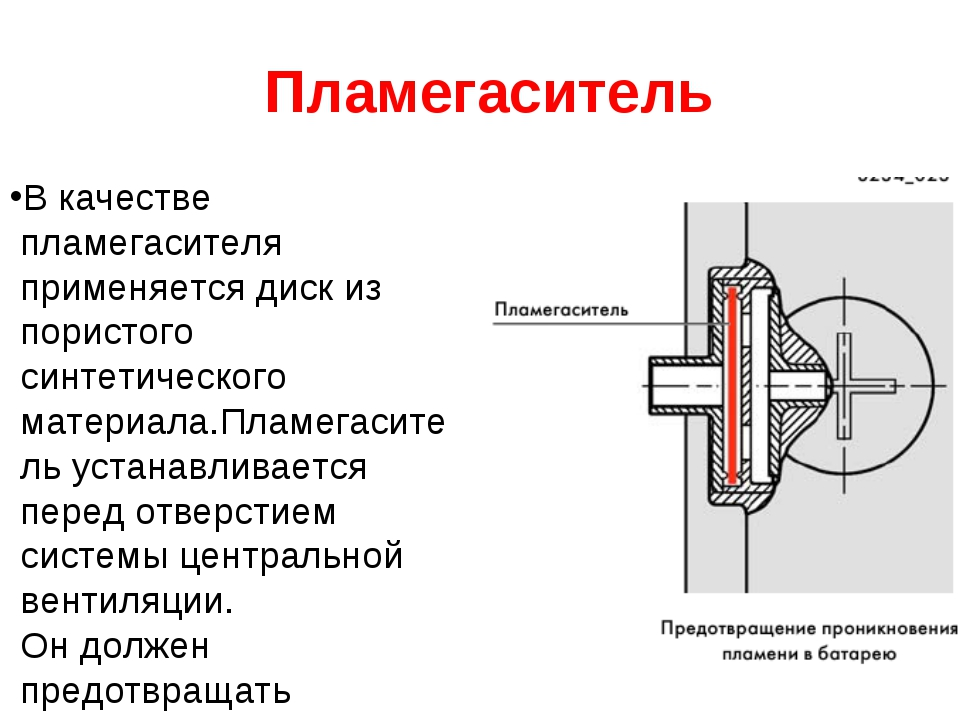 Пламегаситель В качестве пламегасителя применяется диск из пористого синтети...
