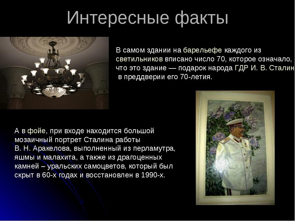 Интересные факты В самом здании набарельефекаждого изсветильниковвписано...