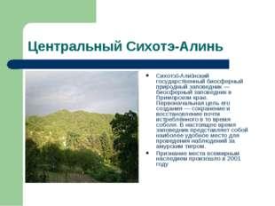 Центральный Сихотэ-Алинь Сихотэ́-Али́нский государственный биосферный природн