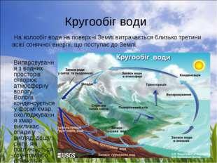 Кругообіг води  Випаровування з водних просторів створює атмосферну вологу