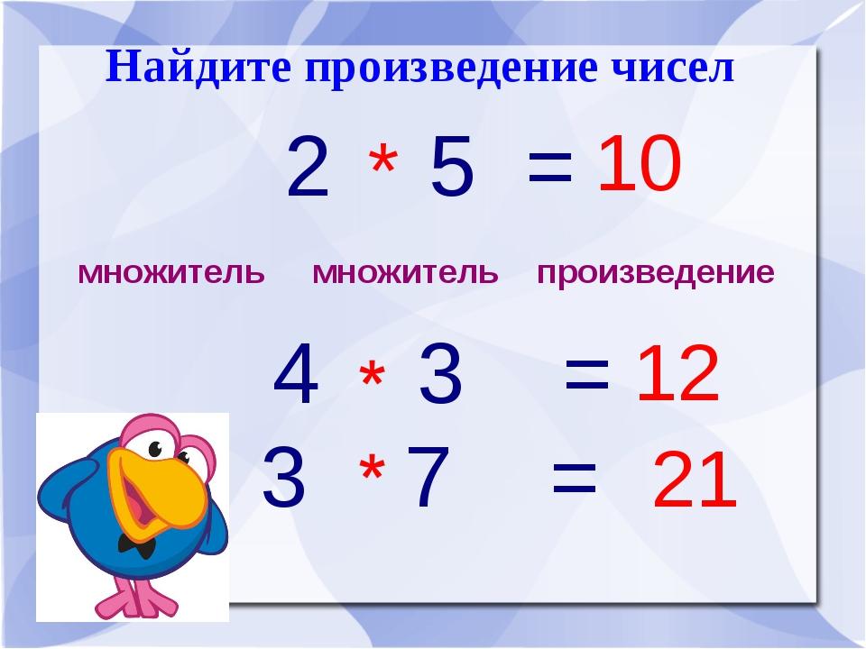 Найдите произведение чисел множитель множитель произведение 2 5 = 4 3 = 3 7 =...