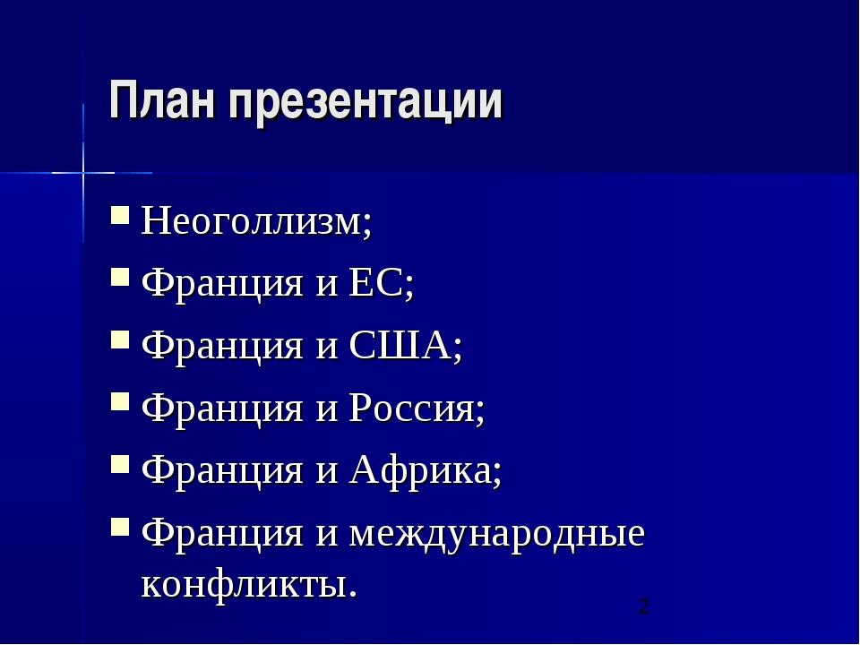 План презентации Неоголлизм; Франция и ЕС; Франция и США; Франция и Россия; Ф...