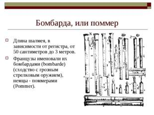 Бомбарда, или поммер Длина шалмея, в зависимости от регистра, от 50 сантиметр