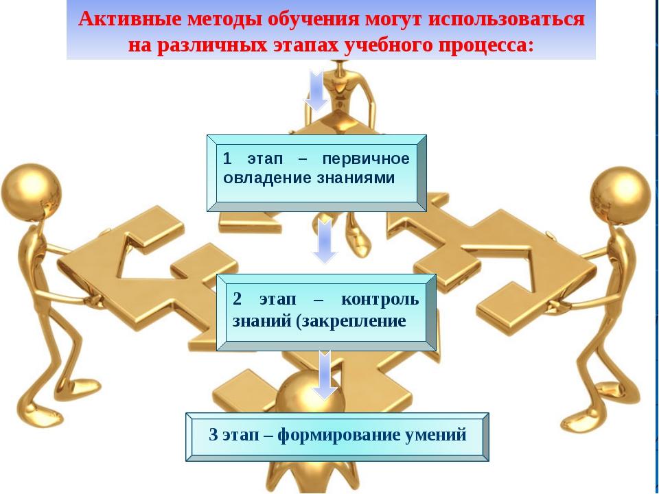 Активные методы обучения могут использоваться на различных этапах учебного п...