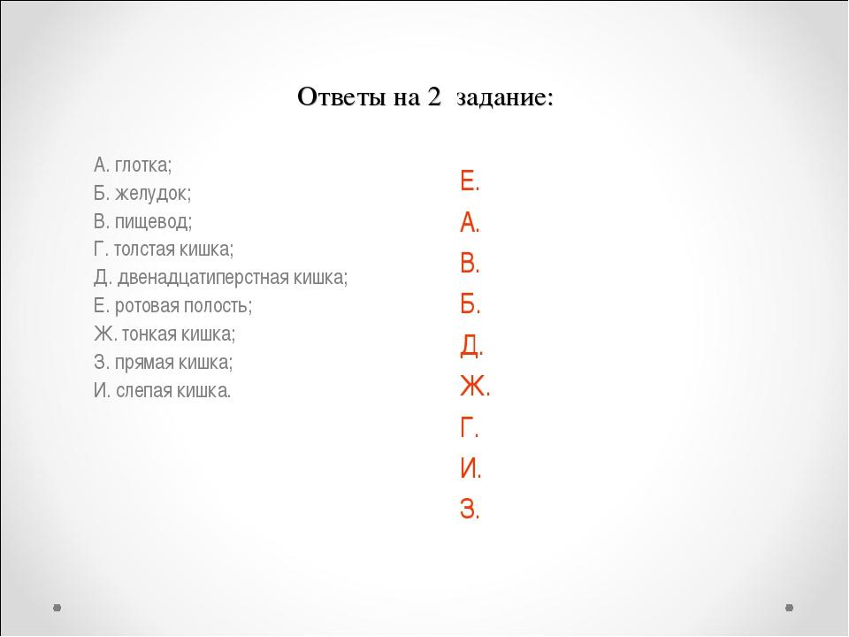 Ответы на 2 задание: А. глотка; Б. желудок; В. пищевод; Г. толстая кишка; Д....