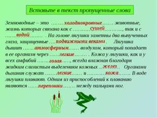 Вставьте в текст пропущенные слова Земноводные – это ………………… ……………… животные,