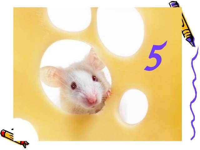 Мышь считает дырки в сыре: Три плюс две - всего ... 5
