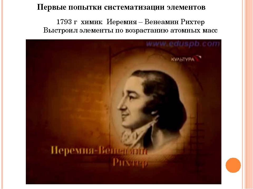 Первые попытки систематизации элементов 1793 г химик Иеремия – Венеамин Рихте...