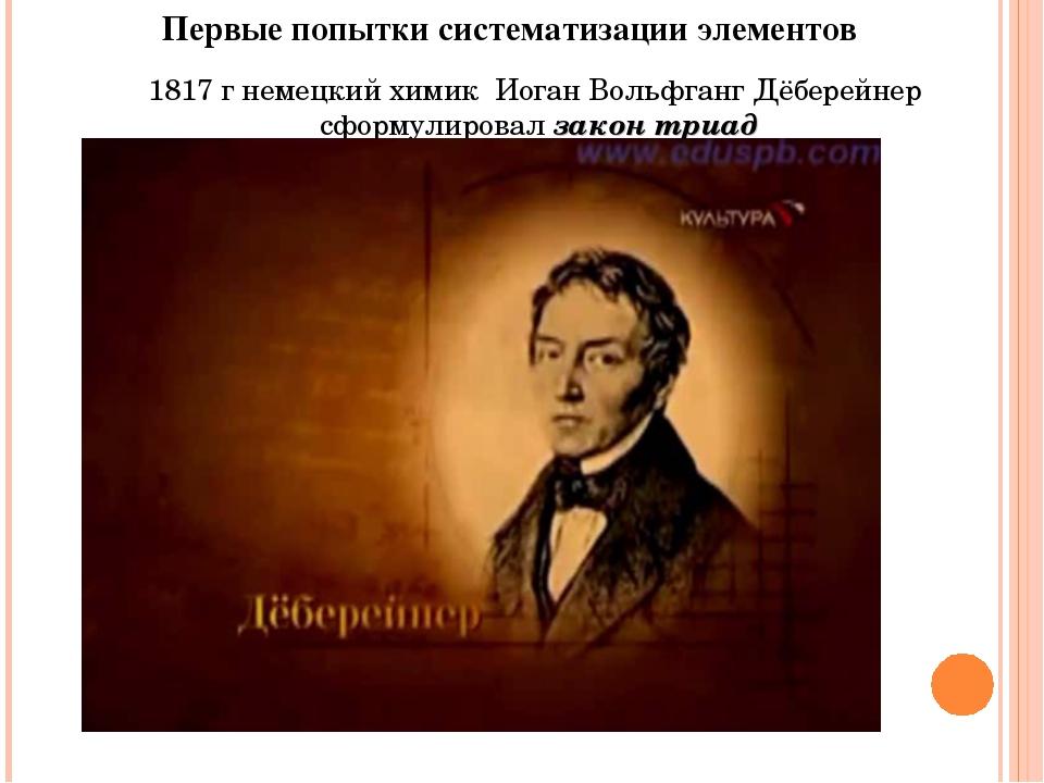 Первые попытки систематизации элементов 1817 г немецкий химик Иоган Вольфганг...