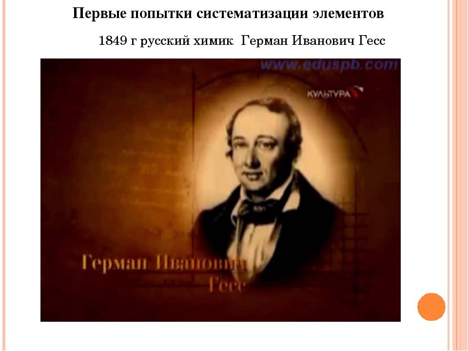 Первые попытки систематизации элементов 1849 г русский химик Герман Иванович...